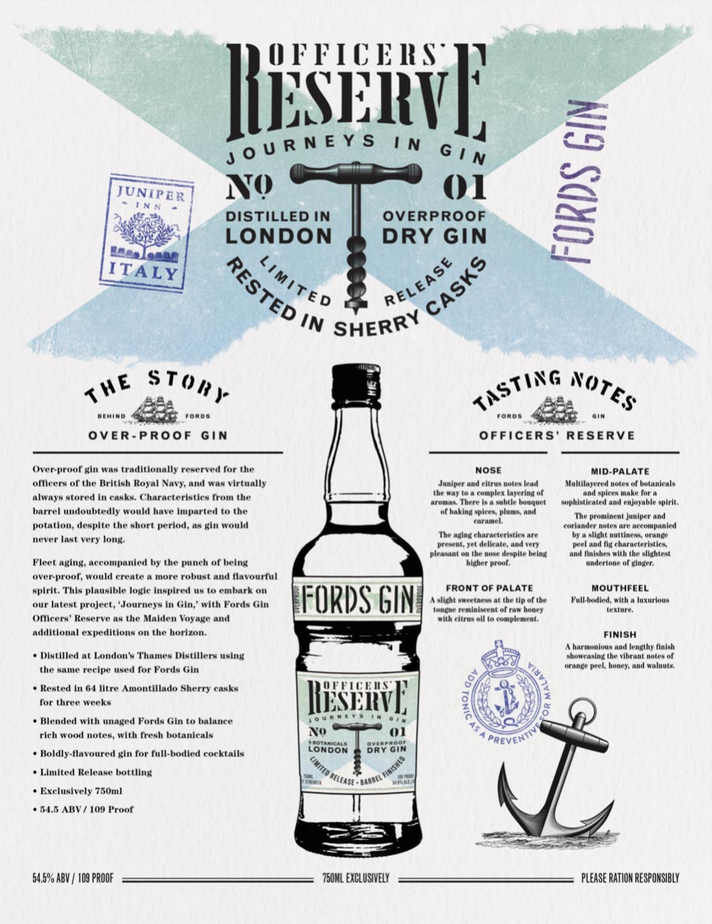 Fords Gin Officer's Reserve Sell Sheet
